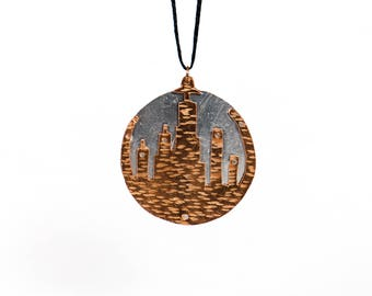 Doctor Who Gallifrey Copper and Aluminium Handmade Whovian Pendant