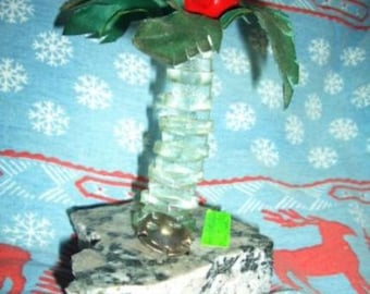 Whimsical Gift Angry Bird Chills Out on Vintage Fused Glass Island w/Palm Tree