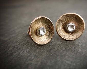 As Seen on Quantico, Gold Stud Earrings, Gold Earrings, Mixed Metal Studs, Poppy Earrings, Rustic Jewelry, Edgy Earrings, Minimalism