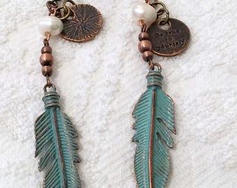 PATINA FEATHER Earrings~BoHo Jewelry ~ Sundance Style~Antique Brass, Bronze, Copper, Pearls~Dangle Earrings~Gift for her~Ready to Ship