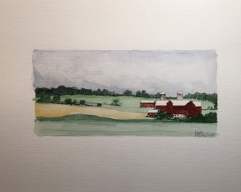 "Watercolor ""Farm, Chester, NY #2"""