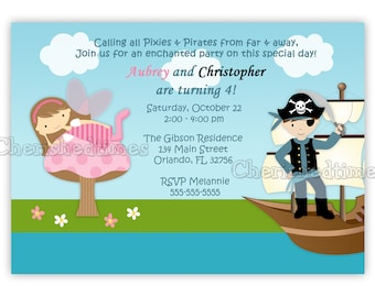 Fairy Pixie and Pirate Birthday Invitation (Digital file)