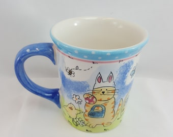 Hausen Ware Large Mug Cup Cat Dressed as Bunny Designed by Mary Jane Mitchell