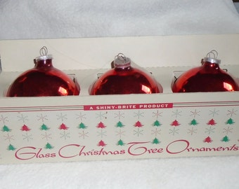 3 Vintage Mercury Glass Shiny Brite Glass 3Inch Red Christmas Ornaments - Plastic Cap - Western Germany