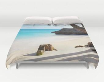Beach Duvet Cover, Ocean Decorative bedding, unique design, Nautical, Dorm Bedding, Aqua Blue bedroom, Surf, Water, Ocean Blue,Tropical, sea