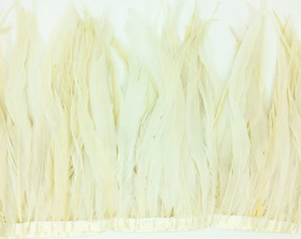 "NATURAL White 10"" - 12"" FRINGE coque rooster tail  feathers"