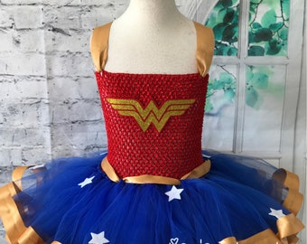 Wonder woman tutu, Wonder Woman dress, Wonder Woman Costume, Wonder Woman birthday outfit, Wonder Woman tutu dress.