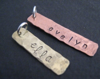 Hand Stamped Brass or Copper  Rectangle Tag