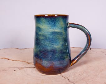 Forest Green Handmade Coffee Pottery Mug, Handmade ceramic pottery mug