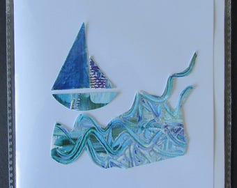 Collage boat on the sea (original)