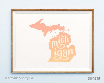 Michigan print - Michigan art - Michigan poster - Michigan wall art