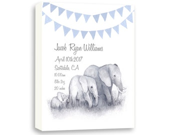 Gallery Wrapped Watercolor Canvas Birth Stat, Gift for Baby Boy, Baby Blue, E1003C