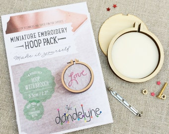 Round Miniture oval embroidery hoop, brooch DIY kit. 6.2 x 3.4cm