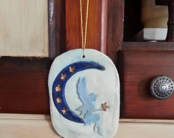 Crescent Moon with Fairy and Stars Ornament, Handmade