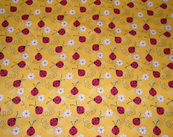 BTY  LADYBUGS & DAISIES on Yellow Print 100% Cotton Quilt Craft  Fabric by the Yard