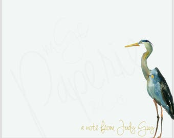 Personalized Stationery Set ·· Monogram Stationery ·· Custom Stationery Set ·· Custom Notecards ·· Blue Heron ··Coastal Watercolor