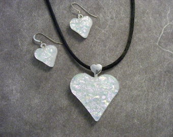 White/Pastel Pink Dichroic Heart Pendant & Earring Set