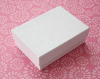 10 High Quality Matte White Cotton Filled Jewelry Boxes 2.5 x 1.75 x 15/16 inches - Small