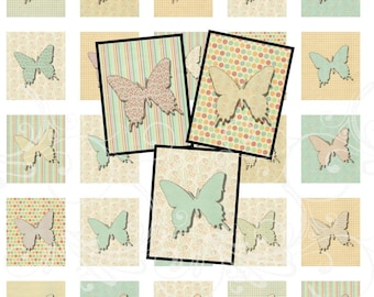 Spring BUTTERFLIES digital collage sheet scrabble tiles