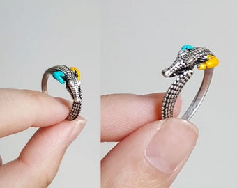 Crocodile ring, Custom Colored Animal Wrap ring, Birthday Gift
