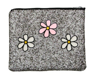 Flower Power glitter clutch - silver
