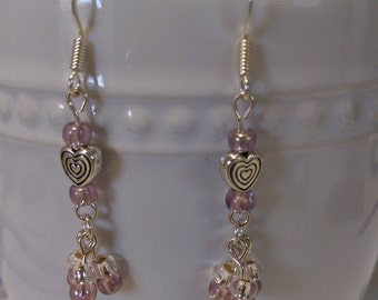Heart dangles with light pink glass beads