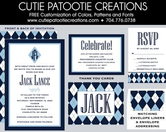 Preppy Argyle Bar Mitzvah Invitations - RSVP Card - Party Card - Thank You Card - Envelope Addressing - Custom Colors Available