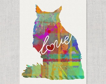 Maine Coon Cat Love - A Colorful, Bright & Whimsical Watercolor Print Home Decor Gift - Can Be Personalized with Name (+ More Breeds)