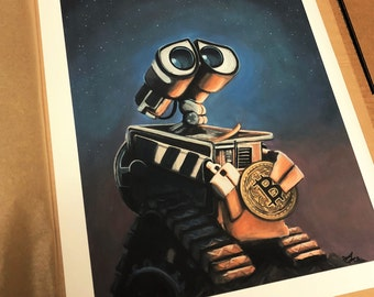 Dream, Believe, Wish - Wall-e and Bitcoin - Giclee Fine Art Print