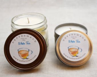 Hand Poured White Tea Scented 4 oz All Natural Soy candle - Dye Free - Phthalate Free Container Candle, Mason Jar Candle