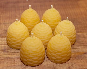 6 small Solid Beeswax Skep candles (4 cm x 4 cm)
