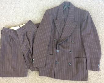 40s Mens Suit Brown Double Breasted Pinstripe Peaked 38 Vintage 1940s