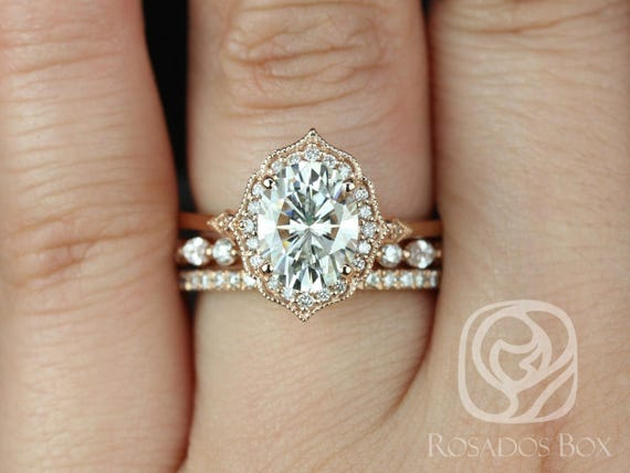 Rosados Box Mae 9x7mm, Cher, & Tabitha 14kt Rose Gold Oval F1- Moissanite and Diamond Halo TRIO Wedding Set