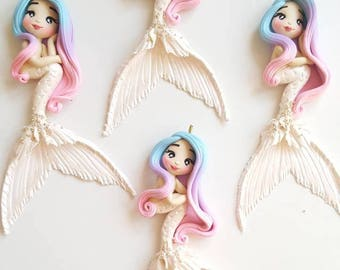 Mermaid with white tail and ombre hair charm / pendant