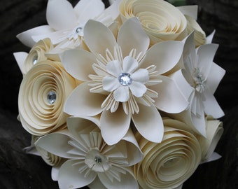 Origami and Spiral Bouquet - Paper Bridal Bouquet - Paper Wedding Flowers - Kusudama Bouquet - White Paper Rose Bouquet  Alternative Bouquet