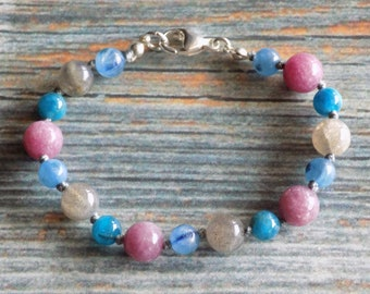 """6.75"""" Shields Up! Healing Gemstone Bracelet Knotted on Nylon with Sterling Silver Findings Healing Crystals, Infused with Intention"""