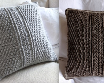 V CABLE PILLOW COVER Crochet Pattern / Instant Download