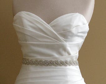Bridal Belt, 30 Inch Wedding Dress Sash, Crystal Wedding Belt, Thin Bridal Sash, Rhinestone Beaded Rope Sash, Wedding Sash, No. 5040S-30,