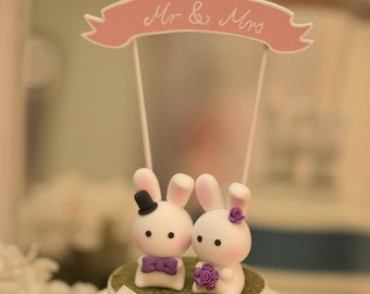 bunny  Wedding Cake Topper, rabbit  wedding cake topepr---k919