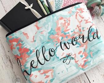 XXL project bag -- hello world maps