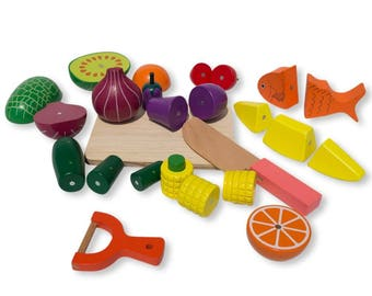 Set of 25 Magnetic Wooden Fruits and Vegetables Kitchen Play Set