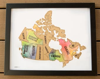 Scratch Your Travels Canada Map (11x14 in) Poster Mother's day Birthday Wedding Gift