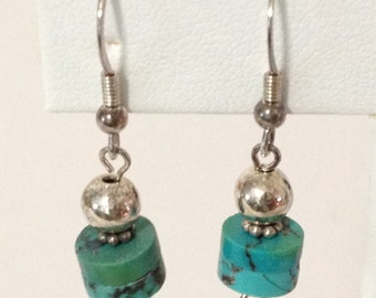 Stacked Turquoise Donut Bead Dangle Earrings 925 Sterling Silver gw16-269