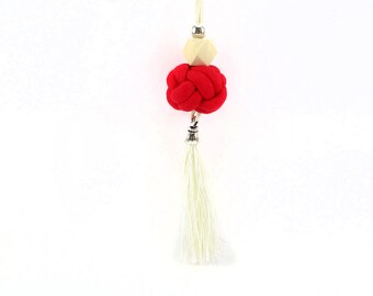 Tassel necklace, Long necklace, Red fabric knot, Handmade tassel, Geometric wooden bead, Silver bead,  Adjustable, Cotton fabric jewelry