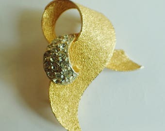 Brushed Gold Tone and Rhinestone Brooch by 'BSK'