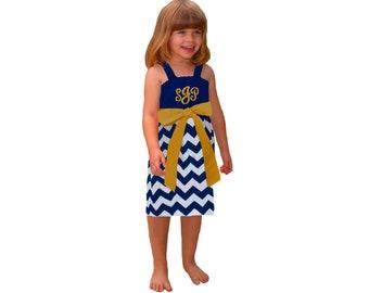 Blue or Navy + Gold Chevron Dress- Girls