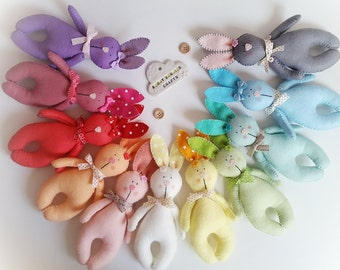 Easter Bunny, Easter Bunnies, Easter, Easter Decoration, Pastel Colours, Rainbow Colours, Rainbow Bunny, Bunny Decoration, Felt Easter Decor