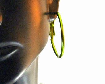 Green Aluminum Hoop Earrings Green Medium Hoops Vintage 80 Earrings Green Earrings Aluminum Earrings Green Hoop Earrings
