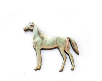 Horse Brooch, Wooden Pony Brooch, Horse Illustration, Animal Brooch, Wood Jewelry