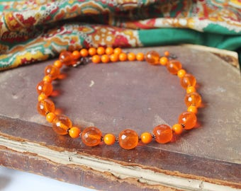 Orange Beaded Necklace Glass Beads Necklace Statement Necklace Chunky Necklace Boho style Necklace Orange Copper jewelry Gift MADE TO ORDER